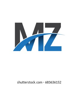 initial letter MZ logotype company name colored blue and grey swoosh design. vector logo for business and company identity.