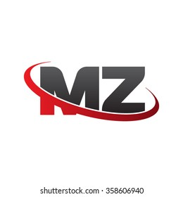 initial letter MZ swoosh ring company logo red black