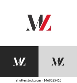Initial Letter mz uppercase modern logo design template elements. red letter Isolated on black white grey background. Suitable for business, consulting group company.