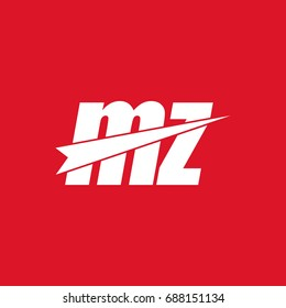 initial letter mz white flat logo vector in red background