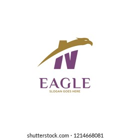 Initial Letter N Eagle Hawk Logo Design in Purle Colored