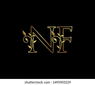 Initial letter N and F, NF, Gold Logo Icon, classy gold letter monogram logo icon suitable for boutique,restaurant, wedding service, hotel or business identity.