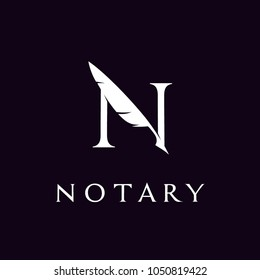 Initial / Letter N with Feather Quill Pen Notary logo design inspiration