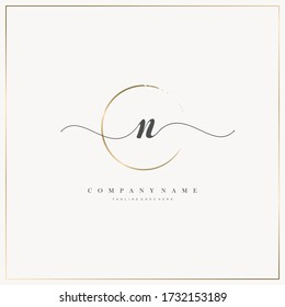 Initial Letter N handwriting logo hand drawn template vector, logo for beauty, cosmetics, wedding, fashion and business, and other