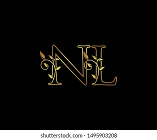 Initial letter N and L, NL, Gold Logo Icon, classy gold letter monogram logo icon suitable for boutique,restaurant, wedding service, hotel or business identity.