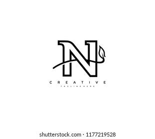 Initial Letter N Linear Minimalist Monogram Swoosh Leaf Logotype