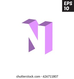 Initial letter N lowercase logo design template block violet purple