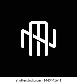 Initial letter N and M, NM, MN, overlapping interlock monogram logo, white color on black background