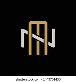 Initial letter N and M, NM, MN, overlapping interlock logo, monogram line art style, silver gold on black background