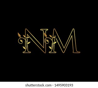 Initial letter N and M, NM, Gold Logo Icon, classy gold letter monogram logo icon suitable for boutique,restaurant, wedding service, hotel or business identity.