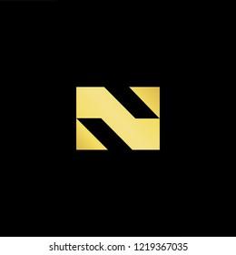 Initial letter N minimalist art logo, gold color on black background.