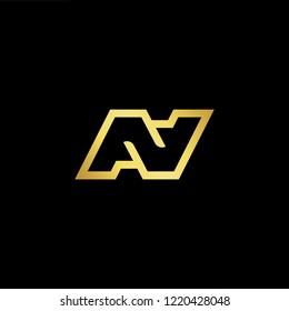 Initial letter N NN AV AV minimalist art logo, gold color on black background.