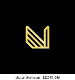 Initial letter N NN NNN NV VN minimalist art logo, gold color on black background.