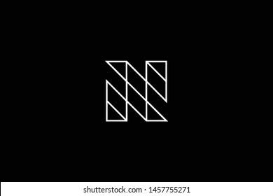 Initial letter N NN NS SN minimal monogram art logo, white color on black background.