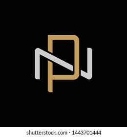 Initial letter N and P, NP, PN, overlapping interlock logo, monogram line art style, silver gold on black background