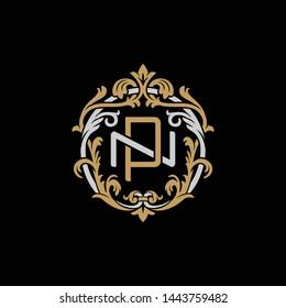 Initial letter N and P, NP, PN, decorative ornament emblem badge, overlapping monogram logo, elegant luxury silver gold color on black background