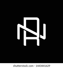 Initial letter N and R, NR, RN, overlapping interlock monogram logo, white color on black background