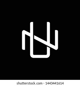 Initial letter N and U, NU, UN, overlapping interlock monogram logo, white color on black background
