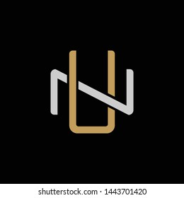 Initial letter N and U, NU, UN, overlapping interlock logo, monogram line art style, silver gold on black background