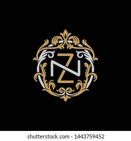 Initial letter N and Z, NZ, ZN, decorative ornament emblem badge, overlapping monogram logo, elegant luxury silver gold color on black background