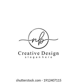 Initial letter NB calligraphy handwritten logo. Handwritten alphabet in the logo template. Letters and Alphabet for your logo design.