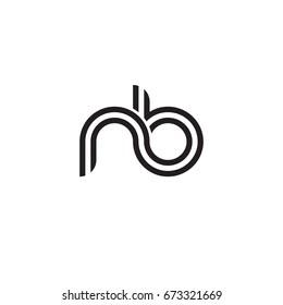 Initial letter nb, linked outline rounded lowercase, monogram black