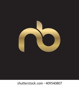 initial letter nb linked round lowercase logo gold black background