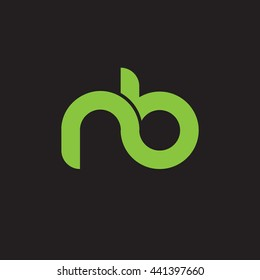 initial letter nb linked round lowercase logo green