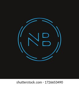 Initial Letter NB Logo Design Vector Template. Digital Abstract NB Letter Logo Design