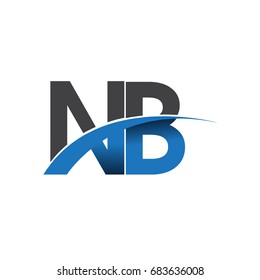 initial letter NB logotype company name colored blue and grey swoosh design. vector logo for business and company identity.