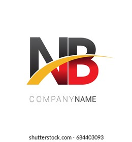 initial letter NB logotype company name colored red, black and yellow swoosh design. isolated on white background.