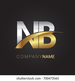 initial letter NB logotype company name colored gold and silver swoosh design. isolated on black background.