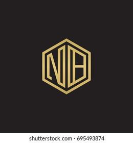 Initial letter NB, minimalist line art hexagon logo, gold color on black background