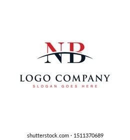 Initial letter NB, overlapping movement swoosh horizon logo company design inspiration in red and dark blue color vector