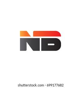Initial letter NB, straight linked line bold logo, gradient fire red black colors