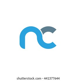 initial letter nc linked round lowercase logo blue