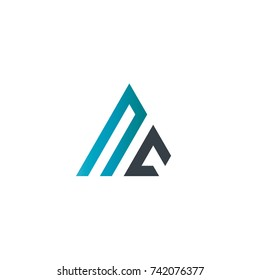Initial Letter NC Linked Triangle Design Logo
