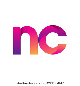 Initial Letter NC Logo Lowercase, magenta and orange, Modern and Simple Logo Design.