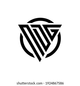 Initial letter NDG triangle monogram cool simple modern logo concept