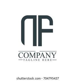 Initial Letter NF Linked Box Design Logo