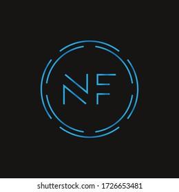 Initial Letter NF Logo Design Vector Template. Digital Abstract NF Letter Logo Design