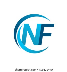 initial letter NF logotype company name blue circle and swoosh design. vector logo for business and company identity.