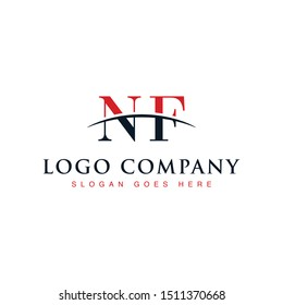 Initial letter NF, overlapping movement swoosh horizon logo company design inspiration in red and dark blue color vector