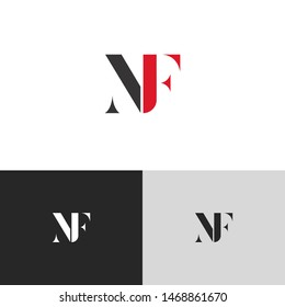 Initial Letter nf uppercase modern logo design template elements. red letter Isolated on black white grey background. Suitable for business, consulting group company.