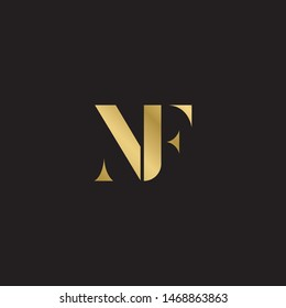 Initial letter nf uppercase modern logo design template elements. Gold letter Isolated on black  background. Suitable for business, consulting group company.