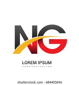initial letter NG logotype company name colored red, black and yellow swoosh design. isolated on white background.