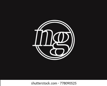 Initial letter ng lowercase outline inside the circle logo template white on black background