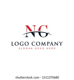 Initial letter NG, overlapping movement swoosh horizon logo company design inspiration in red and dark blue color vector