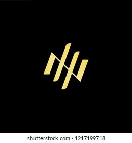 Initial letter NH HN minimalist art logo, gold color on black background.