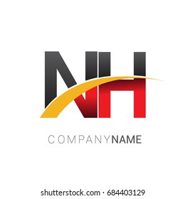 initial letter NH logotype company name colored red, black and yellow swoosh design. isolated on white background.